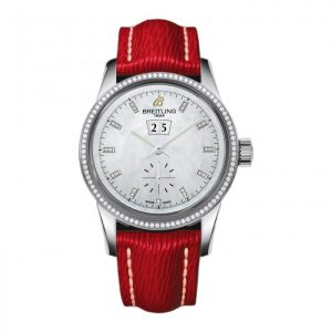 The sturdy fake Breitling Transocean A1631053 watches have stainless steel cases and bezels and red leather straps.