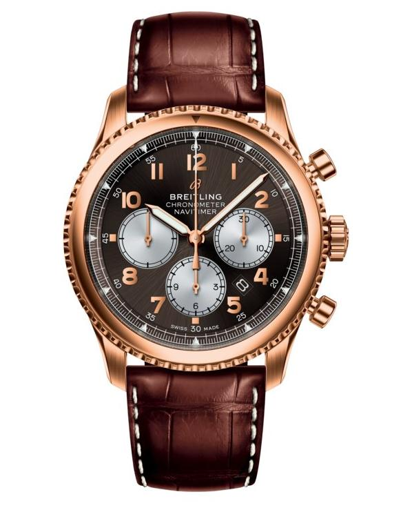The durable fake Breitling Navitimer Chronograph RB0117131Q1P1 watches are made from 18k red gold.