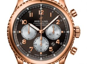 The fine copy Breitling Navitimer Chronograph RB0117131Q1P1 watches have brown dials.