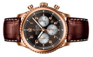 The well-designed replica Breitling Navitimer Chronograph RB0117131Q1P1 watches have brown leather straps.