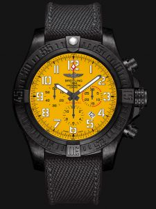 The comfortable replica Breitling Avenger XB0180E4 watches have black rubber straps.
