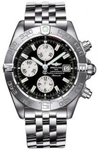 The sturdy fake Breitling Galactic Chronograph II A1336410 watches are made from stainless steel.