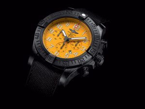 The 45 mm copy Breitling Avenger XB0180E4 watches have yellow dials.