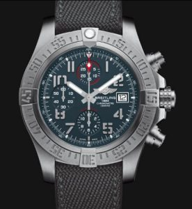The 45 mm fake Breitling Avenger Bandit E1338310 watches have titanium grey dials with Arabic numerals.