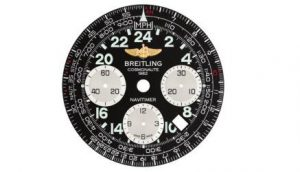The 43 mm fake Breitling Navitimer AB0210B4 watches have black dials.