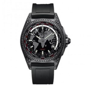 The black rubber straps fake watches are decorated with diamonds.