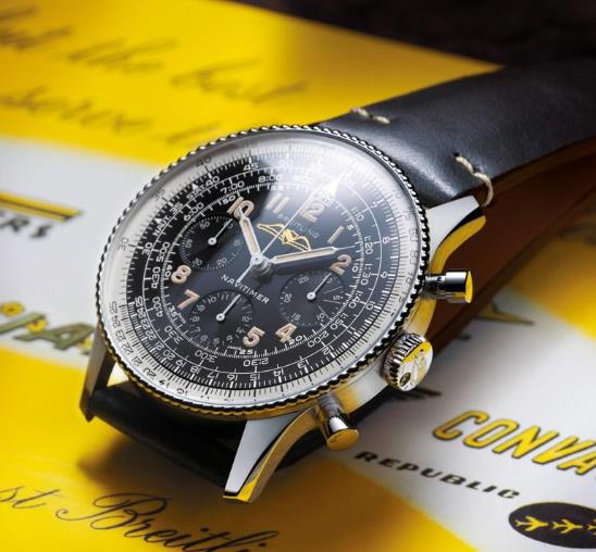 The Breitling sports a distinctive look of retro style.