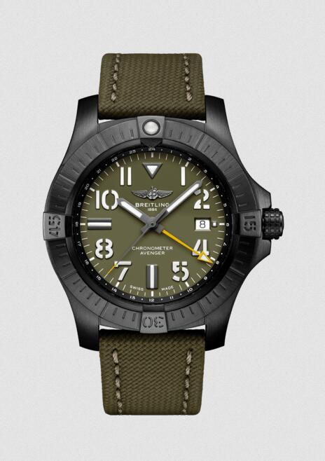 The new replica watches ensure evident color contrast with yellow hands and khaki green dials.