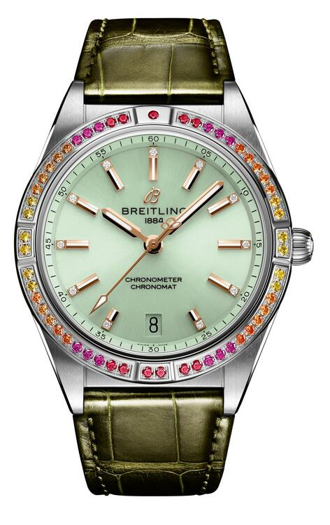 New replica watches maintain the fresh visual effect with mint green color.